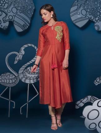 Rust orange festive wear simple long kurti