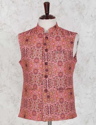 Rust orange hued printed waistcoat