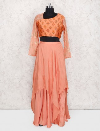 Orange indo western georgette lehenga choli