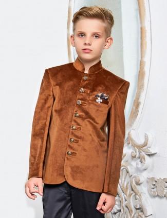 Rust orange jodhpuri blazer in velvet fabric