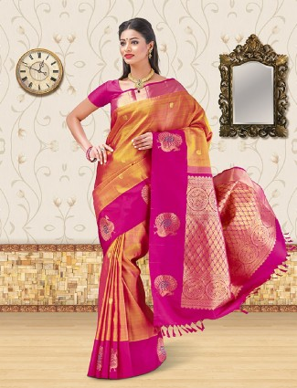 Rust orange kanchipuram silk saree