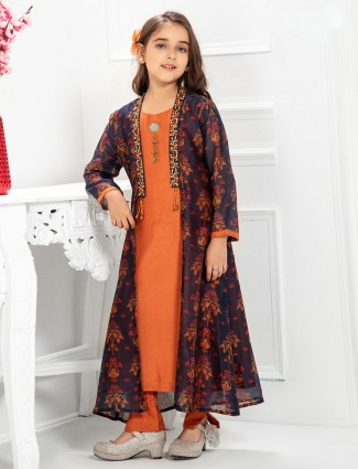 Rust orange pant style cotton salwar suit