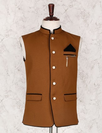 Rust orange plain terry rayon waistcoat