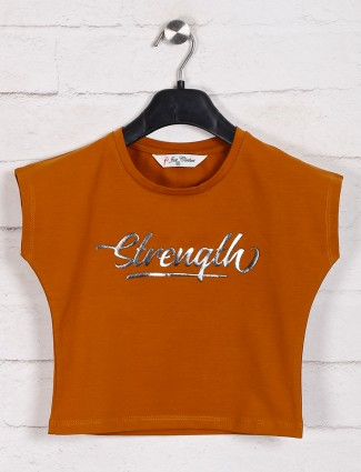 Rust orange printed casual top