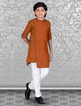 Rust orange printed cotton kurta suit for festive