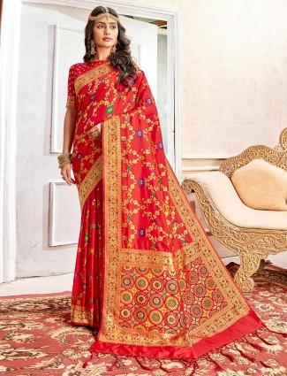 Rust orange saree design in banarasi silk