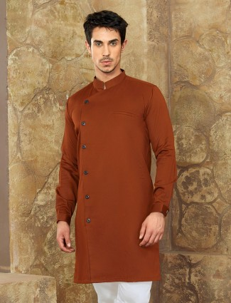 Rust orange short pathani for festive
