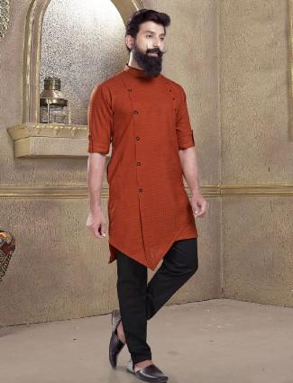 Rust orange solid kurta suit for festive