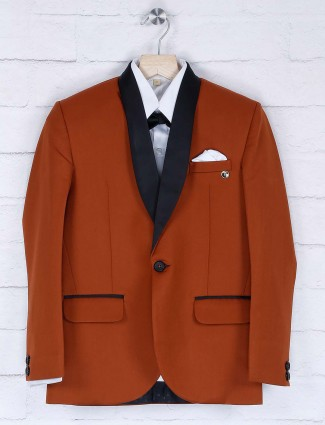 Rust orange solid terry rayon coat suit