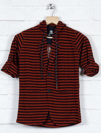 Rust orange stripe cotton blazer for party