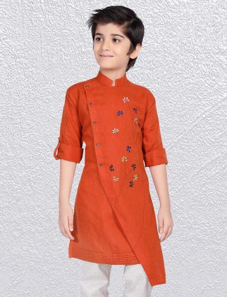 Rust orange weddign occasion short kurta
