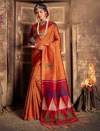 Rust orange wedding cotton silk saree