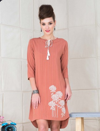 Rust pink cotton round neck top