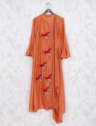 Rust pink festive wear cotton kurti