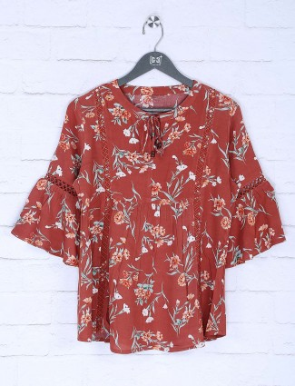 Rust printed cotton top