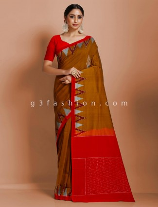 Rust red pure mul cotton printed festive wear saree