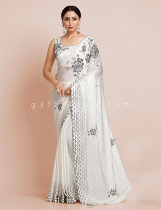 Saarin off white wedding special saree with readymade blouse