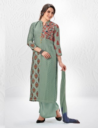 Sage green color palazzo suit