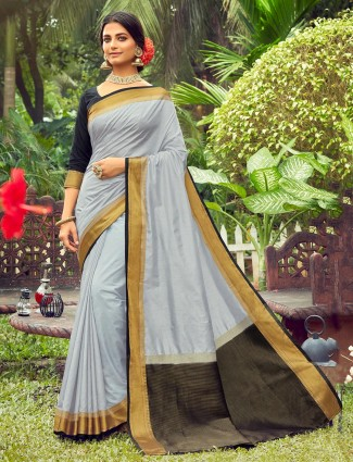 Saree for festive session in grey cotton silk
