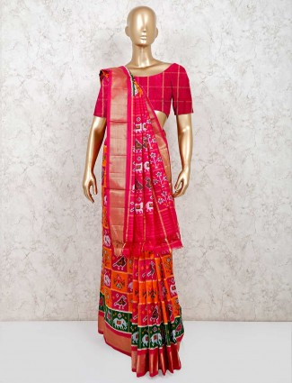 Saree for wedding session in orange and pink