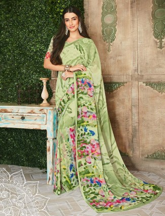 Saree in green georgette printed