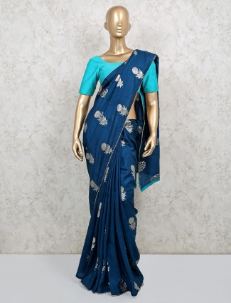 Saree in navy dola silk fabric
