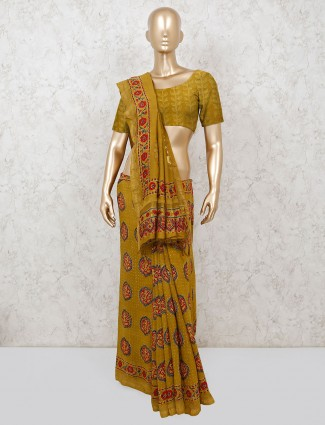 Saree in olive cotton printed