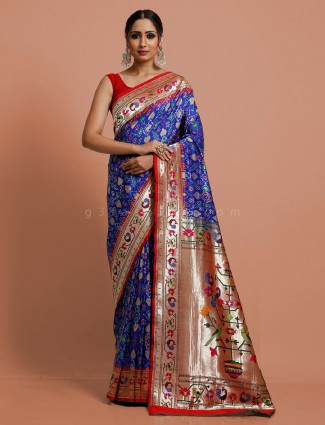Saree in royal blue patola paithani
