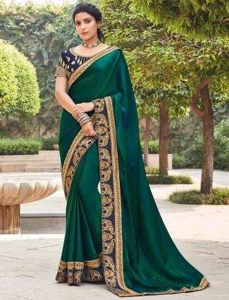 Satin bottle green saree for wedding