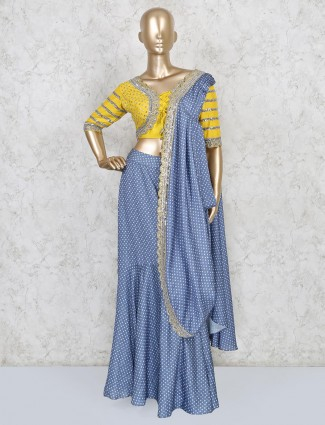 Satin one minute saree in blue color