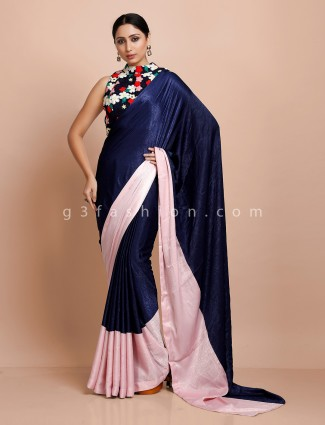 Satin party ready made blouse saree in blue and pink