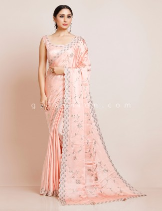 Satin peach saree with readymade blouse for wedding