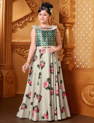Satin printed pista green gown