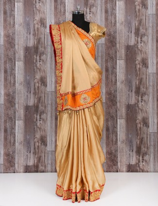 Satin silk beige saree