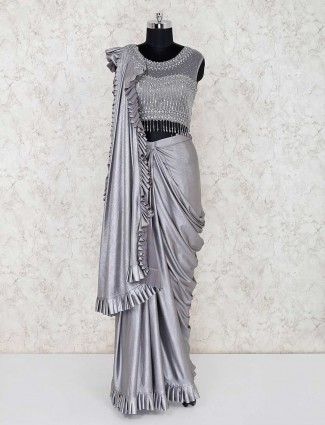 Grey siver round neck lehenga choli