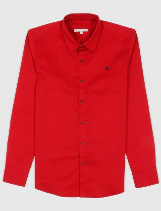 Scratch cotton fabric solid red shirt