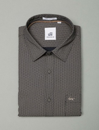 SDW black printed formal shirt for mens