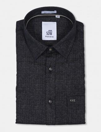 SDW black printed patch pocket cotton shirt