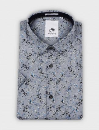 SDW dark grey printed cotton fabric shirt