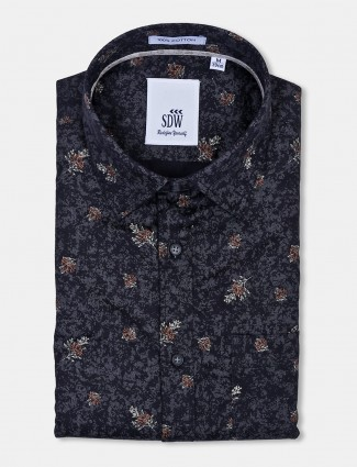 SDW flower printed black formal shirt