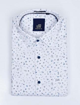SDW formal function white printed shirt