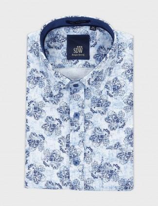 SDW formal wear blue printed shirt