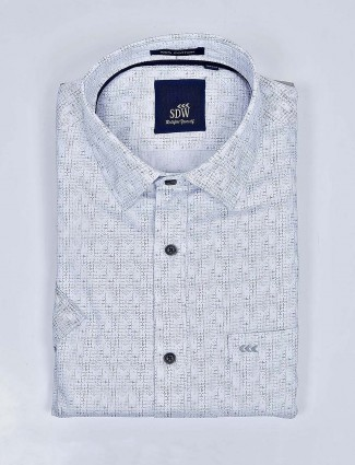 SDW navy color printed cotton shirt