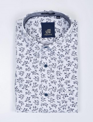 SDW presented white printed cotton shirt