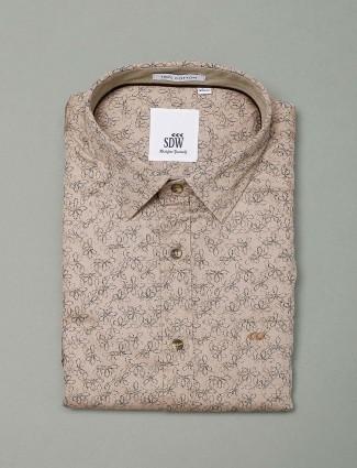 SDW slim fit beige printed shirt