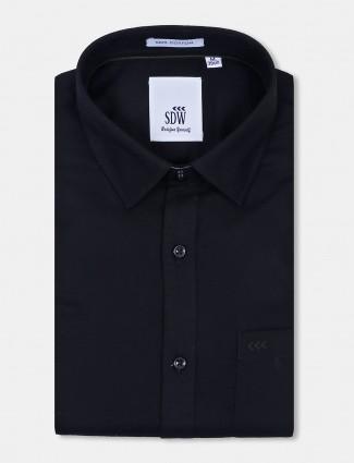 SDW solid black cotton fabric mens shirt