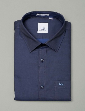 SDW solid formal navy shirt for mens