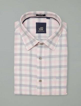 SDW white printed mens shirt