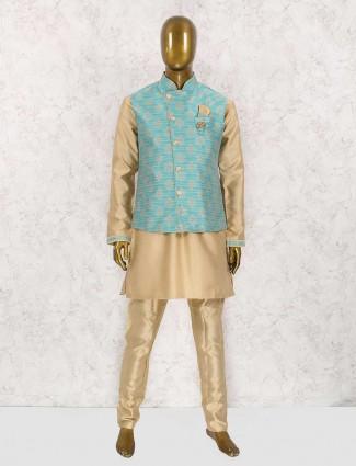Sea green and beige waistcoat set
