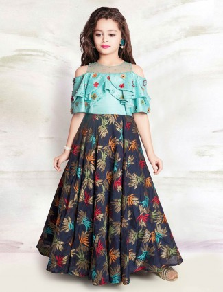 Sea green and navy hue lehenga choli